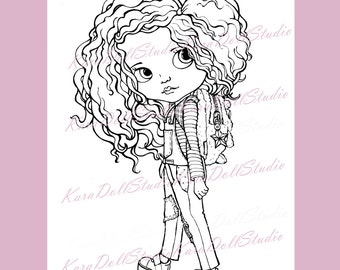 INSTANT DOWNLOAD, Digi stamp, Children's stamps, Coloring Pages, Stamping printable, Doll stamp, Blythe Doll Digi Coloring K-01