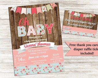 Rustic Baby Shower Shabby Chic Invite It's a girl 5x7 Invitation Sprinkle