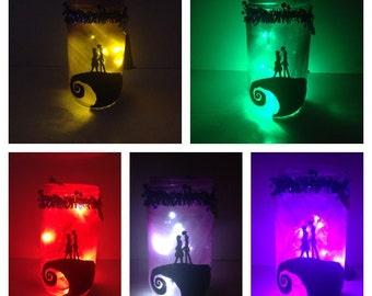 Nightmare Before Christmas Jar Lamp Jack and Sally Nightlight Halloween Decoration Prop