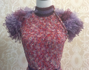 Hand Crocheted Organza Ribbon Two-Piece Dress