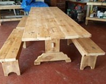 Dinning Room Table w/4 Benches Repurposed Pine Barnwood