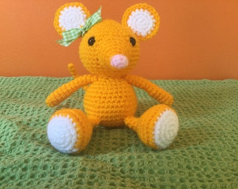 Hand crocheted amigurumi mouse