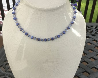 Sapphire Crystal & Glass Pearl Necklace