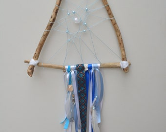 Kauri Wood Blue Beaded and Ribbon Triangle Dream Catcher, Lavender Charm