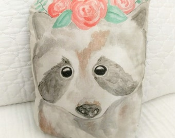 Hand Painted Raccoon Pillow
