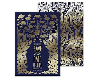 Nouveau Save the Date Invitation | 'The Nouveau - Navy'  Designed & Printed in Australia, Affordable Save the Date, Wedding Invite