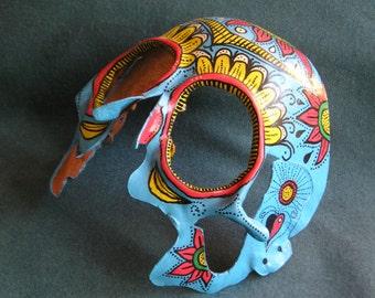 Handmade Leather Sugar Skull mask-blue color