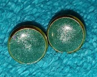 Teal Shimmer Earrings on 10mm Gold Stainless steel Post #0011