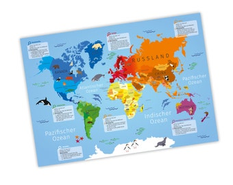Children learning poster world map A3 / A2 / A1 * nikima * in 3 different sizes continents America, Europe, Africa, poster