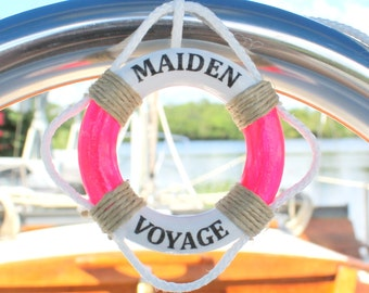 Maiden Voyage, 1 Tag, Life Preserver, Nautical Gift Tag, Gift Tag, Tag, MiniLifeRings, Pink Tag, Maiden,