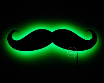 Lighted Mustache Sign and Wall Hanging Mustache Night Light Lamp Shaped Like a Decal