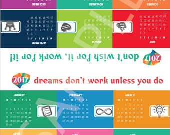 PRINTABLE DESK CALENDAR 2017 colorful pdf version with inspiring quotes and colorful symbols
