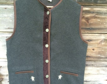 Gray Womens Vest Embroidered Waistcoat Harvest Festival Gift for Grandmother Size  Large