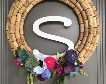 Custom flower listing for Carla, custom felt floral arrangement, felt flowers for wreath, wreath felt flowers, monogrammed wreath
