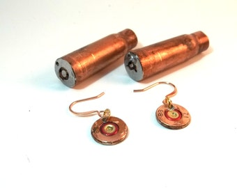 Bullet Jewelry- 308 Caliber Copper Bullet Earrings