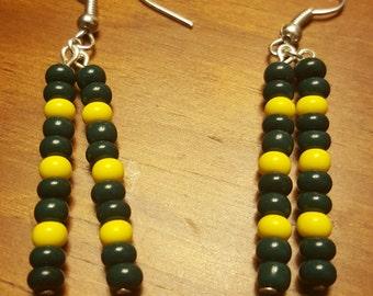 Green Bay Packer Glass Bead earrings.