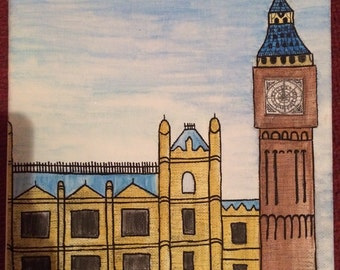 SALE Big Ben and the House of Parliament canvas, London canvas, London drawing