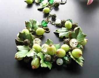 Jewelry set Gooseberries Natural nephritis Bracelet Earrings nephritis Bracelet berries Polymer clay