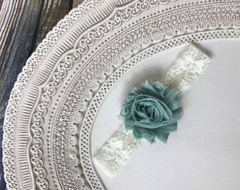 Shabby Chiffon Rosette Flower and Lace Baby Headband