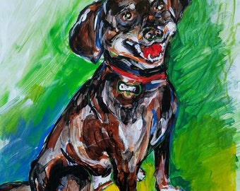 Smiling Rottweiler print from an original acrylic.
