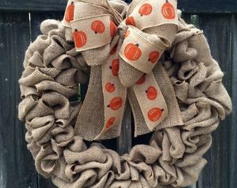 Fall wreath, Burlap wreath