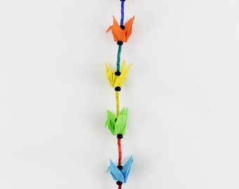 Rainbow Origami Crane and Crystal Suncatcher