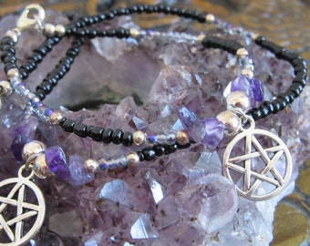 Handmade amethyst pentacle necklace bracelet set crystal PAGAN, Halloween gift, wicca 18inches 46cms