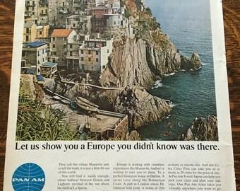 PanAm Cinque Terre Italy Ad from 1960's LIFE magazine