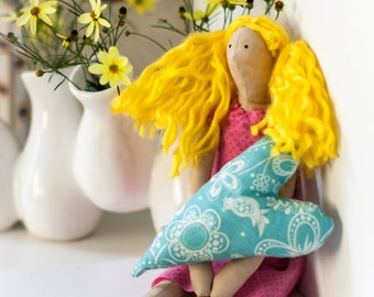 Tilda Doll - Yellow Hair - Pink Dress - Blue Heart