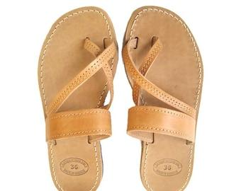 Womens sandals, Greek sandals, Leather sandals, Greek leather sandals, Toe ring sandals, Brown leather sandals, Erato