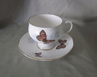 """Butterfly Teacup and Saucer Queen's Fine Bone China Rosina """"Wall Brown Butterfly"""""""