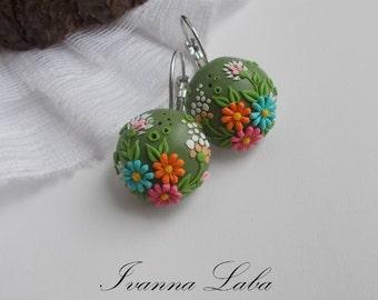 flower earrings, wild flowers, cute earrings, stylish earrings, handmade, gift earrings
