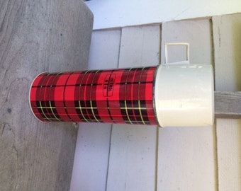 Vintage Plaid Thermos, Marked Thermos, Norwich CT USA
