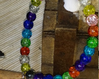 Cracked glass beads bracelet