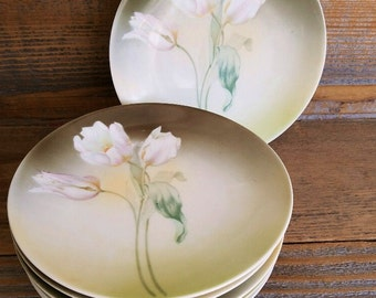 R. S. Germany Dessert Plates - Six Vintage with Tulips