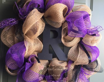 Custom Deco Mesh Wreath with Initial
