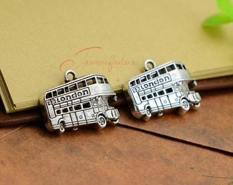 15PCS--25x20mm ,London Bus Charms, Antique Silver Double Decker Bus Charm pendant, DIY supplies,Jewelry Making