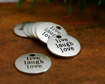 15PCS--20x20mm ,Live laugh love Charms, Antique silver Live laugh love words Charm pendant, DIY supplies,Jewelry Making