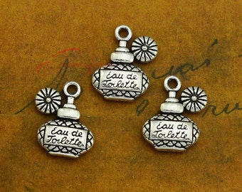 25PCS--18x14mm Perfume bottle Charms, Antique Silver Double side Perfume bottle Charms pendant, DIY supplies,Jewelry Making JAS02
