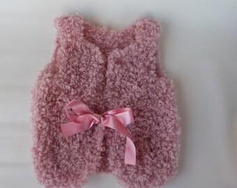 Pink hand knitted girls Vest - Knitted vest - Little girl vest