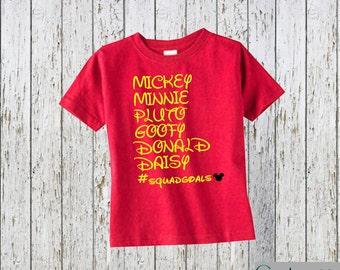 Disney Squad Goals Kid's Shirt Fab 6 Mickey, Minnie, Pluto, Goofy, Donald, Daisy