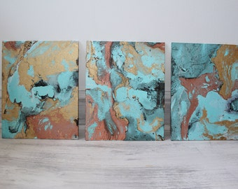 Custom Marbled Painting, Choose your colors and make it your own! 16x20 Set of 3
