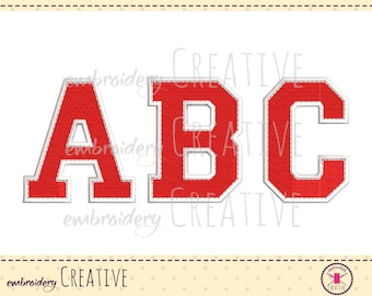 College style letter alphabet A-Z Embroidery design