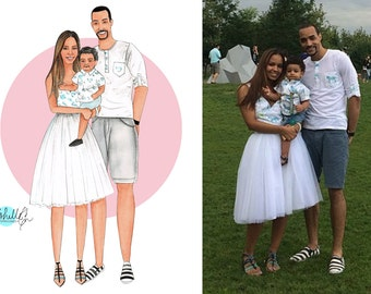 Digital Family Portrait Illustration