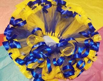 Girl's blue and yellow ribbon tutu