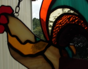 Rooster Stained Glass Suncatcher