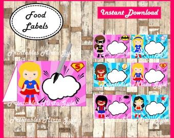 Superhero girls Food labels, printable girl Superhero party food tent cards , Superhero Pink tent cards