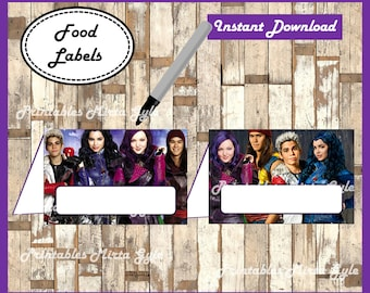 Descendants Food labels, printable Descendants party food tent cards , Descendants food tent cards