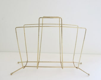 Vintage Light-weight Gold-Tone Metal Mid-Century Modern Magazine Rack or Holder
