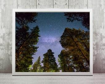 Lake Tahoe Print, Instant Download, Travel Photography, Home Decor, Wall Art, Travel Prints, Wall Print, California, Milky Way